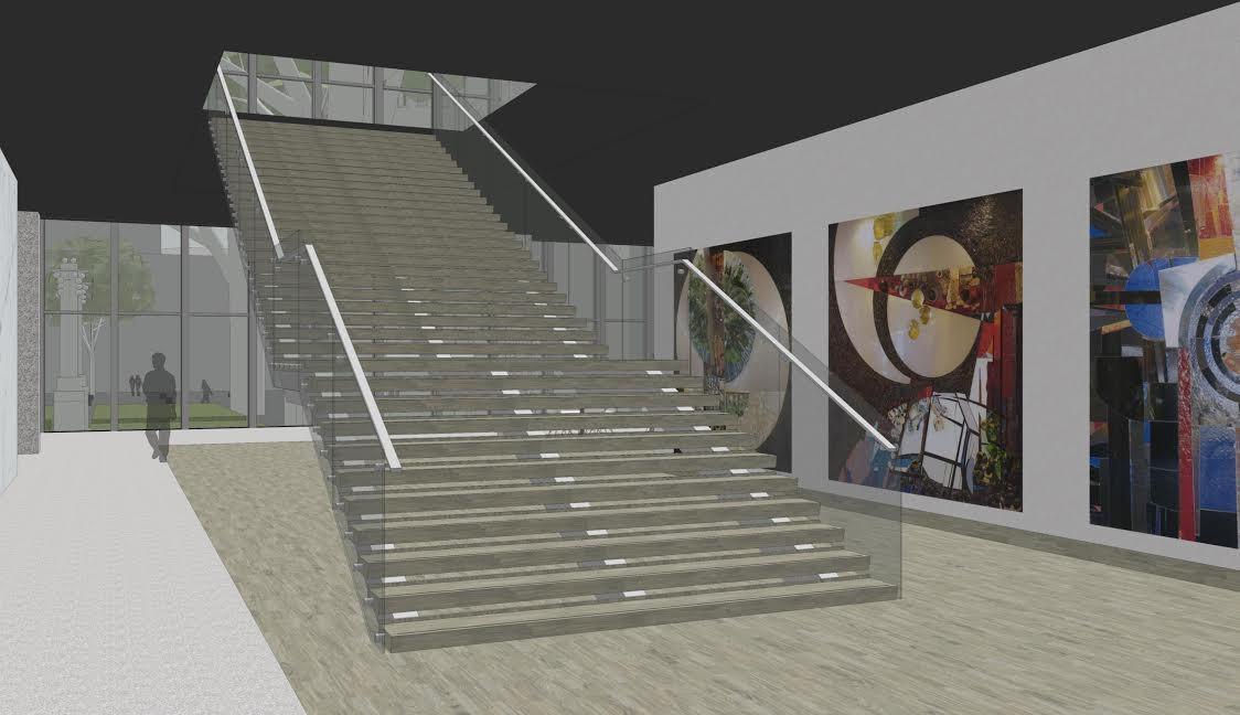 Dzeze opzet voor herplaatsing van de glasmozaieken bij een trappenhuis op de begane grond is vooralsnog afgewezen.