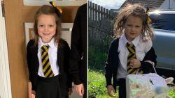 Voor- en nafoto's van verwilderd meisje op eerste schooldag gaan viraal