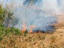 Brandweer blust bermbrand in Wilnis