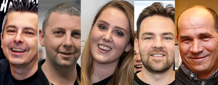 De genomineerden voor de PZC-verkiezing Leraar van het jaar 2018. Carlo van Grimberge, Emile Boone, Evy Koole, Niels Minnaard en Hafid Draoui.