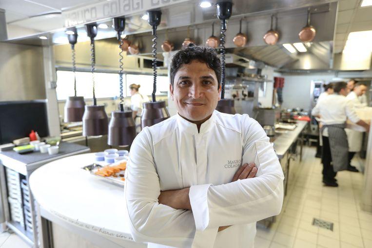 Chef Mauro Colagreco in zijn 'beste restaurant ter wereld' Mirazur in het Franse Menton. Beeld AFP