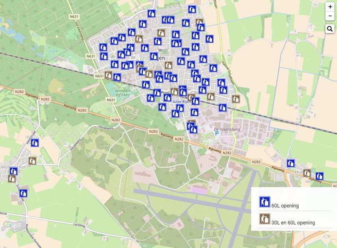 De beoogde plaatsen waar de ondergrondse containers in Rijen, Hulten en Molenschot geplaatst gaan worden. Bezwaar is nog mogelijk. Inzoomen naar straat kan via de link in het begin van dit artikel.