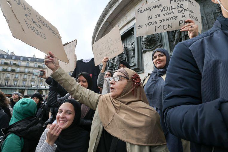 Demonstratie op 19 oktober in Parijs tegen islamofobie. Beeld Foto Getty Images