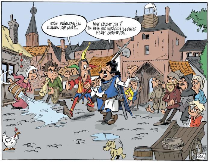 Ridder Dolf met zijn vriend Martinus bij de Vischpoort in Harderwijk