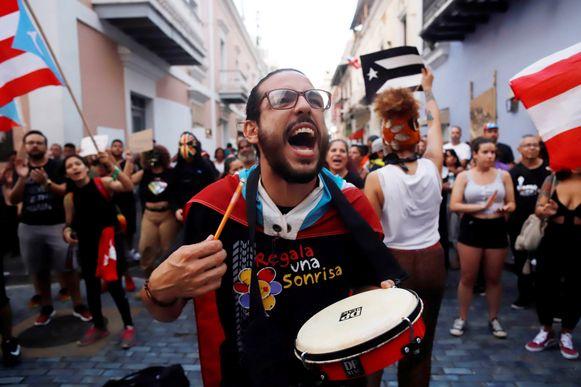 Een betoging tegen Rossello in San Juan, de hoofdstad van Puerto Rico.