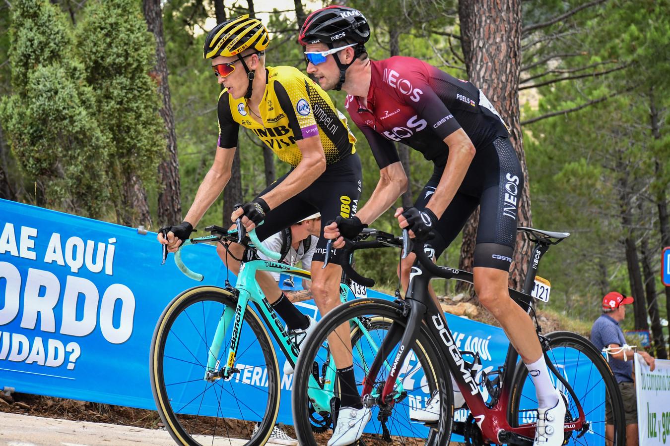 Robert Gesink en Wout Poels tijdens de Vuelta.