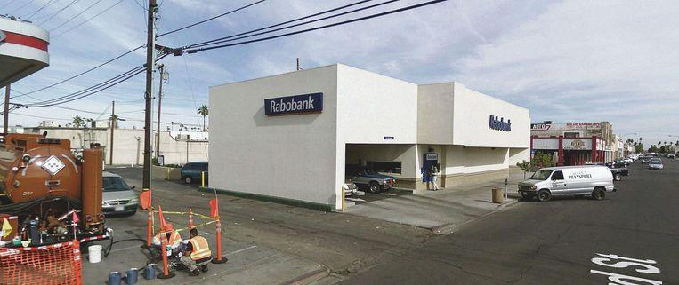 ATM Rabobank, Rockwood Avenue, Calexico, Californië, Verenigde Staten. Beeld