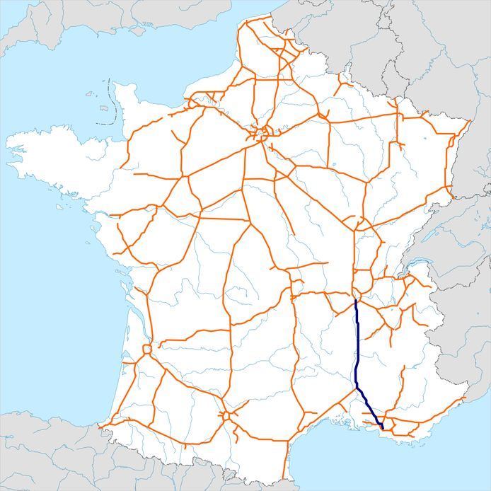 De autosnelweg A7 in Frankrijk
