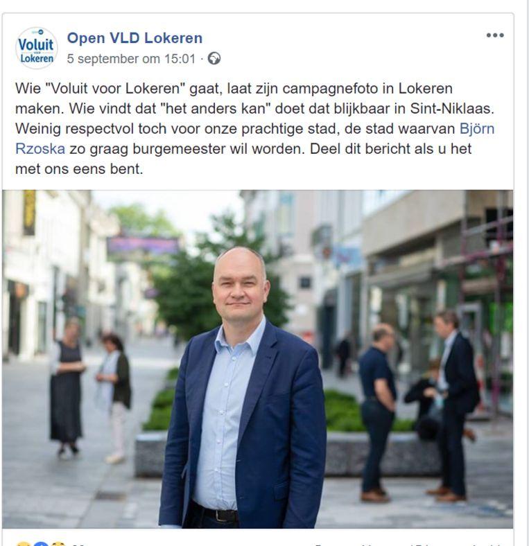 Open Vld Lokeren vindt het niet kunnen dat tegenkandidaat Björn Rzoska zijn campagnefoto liet maken in Sint-Niklaas.