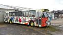 Voormalige Arnhemse trolleybus die in 1990 werd beschilderd door Herman Brood op het terrein van de voormalige steenfabriek in Meinerswijk in Arnhem-Zuid. De GVA 129 is sindsdien ook wel bekend als de 'Broodbus'.