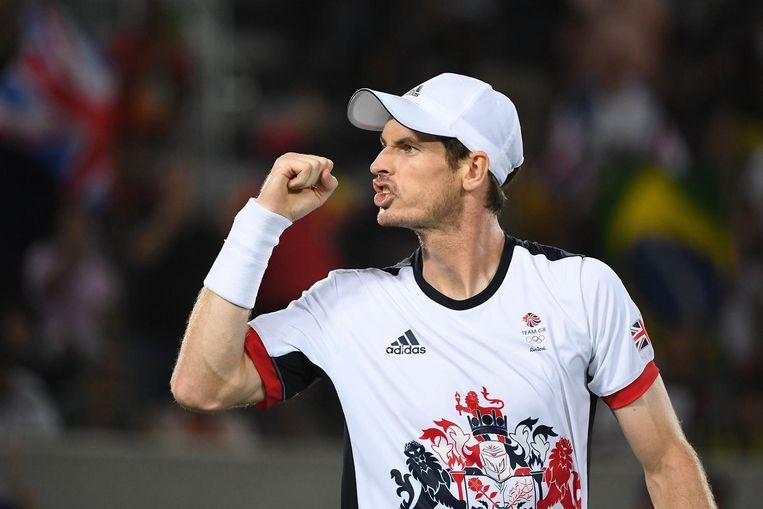 Andy Murray viert een punt tegen Del Potro. Beeld photo_news