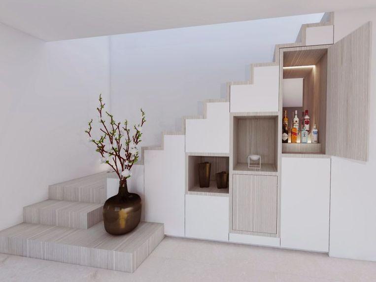 Vooral in een open leefruimte is je trap de ideale plaats om extra berging te voorzien.