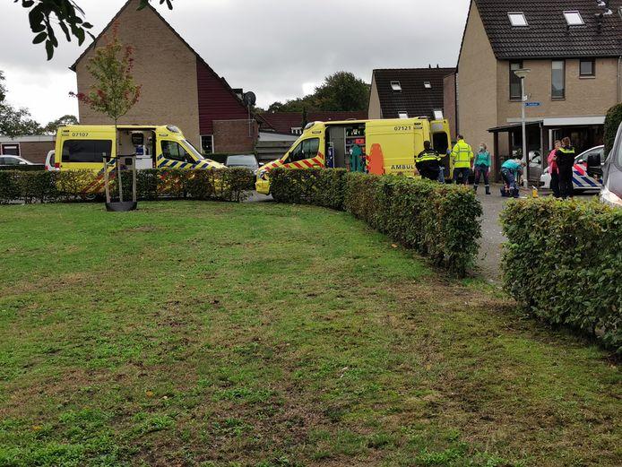 Hulpdiensten op de plek van het ongeval in Heelsum.