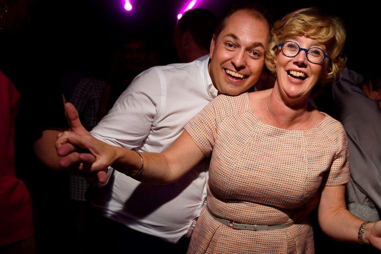 Burgemeester Veerle Heeren met haar partner Dimitri Flossy.