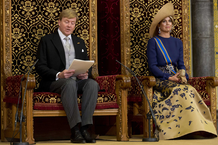Koning Willem-Alexander en koningin Maxima tijdens het voorlezen van de Troonrede vorig jaar.