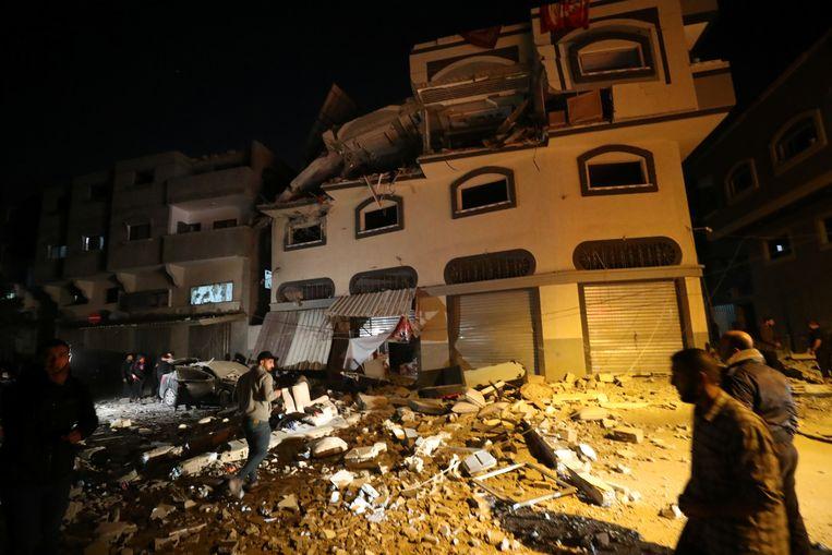Het huis van Baha Abu Al-Atta na de aanval in de Gazastrook.