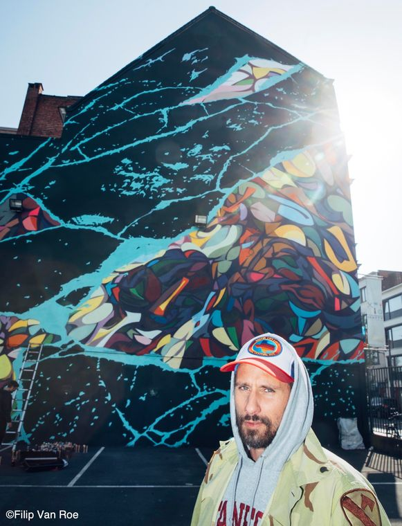 De nieuwe mural van Matthias Schoenaerts en Steve Locatelli.