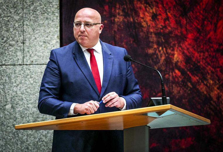 Sietse Fritsma (PVV) in 2018, tijdens het debat in de Tweede Kamer over het Marrakesh-migratiepact.  Beeld ANP