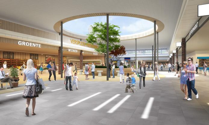 Toekomstbeeld van het nieuwe 'versplein' van Presikhaaf, met rechts de Albert Heijn en achterin het midden de Aldi.