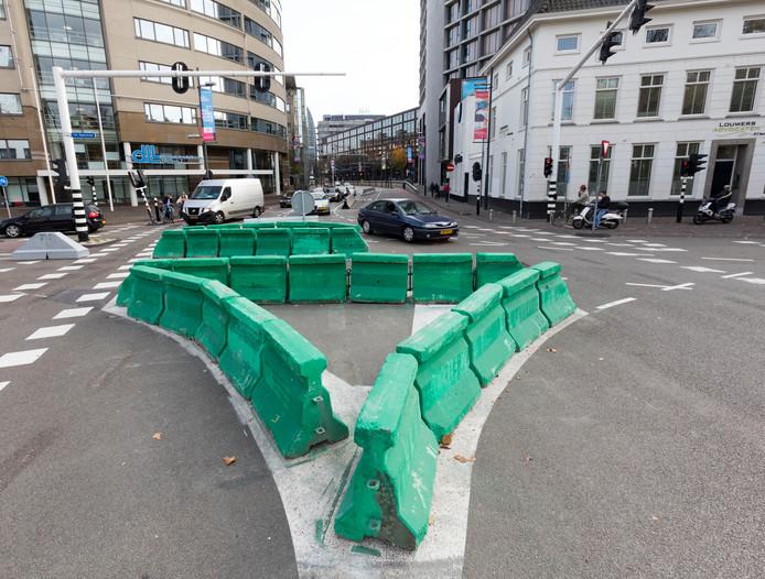 Groene blokken op de Vestdijk in Eindhoven
