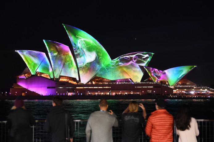 Lichtprojecties in het kader van het Vivid-lichtfestival, een niet-commerciële versiering.
