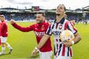 Fran Sol (rechts) na de 5-0 overwinning van Willem II op Heracles.