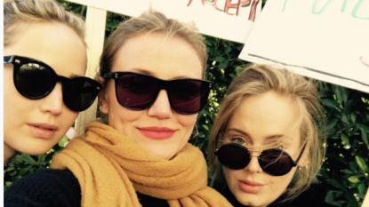 Adele samen met Jennifer Lawrence en Cameron Diaz op Women's March