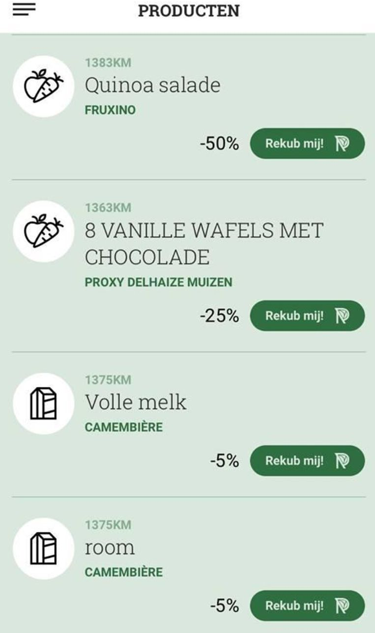 Screenshot van de app