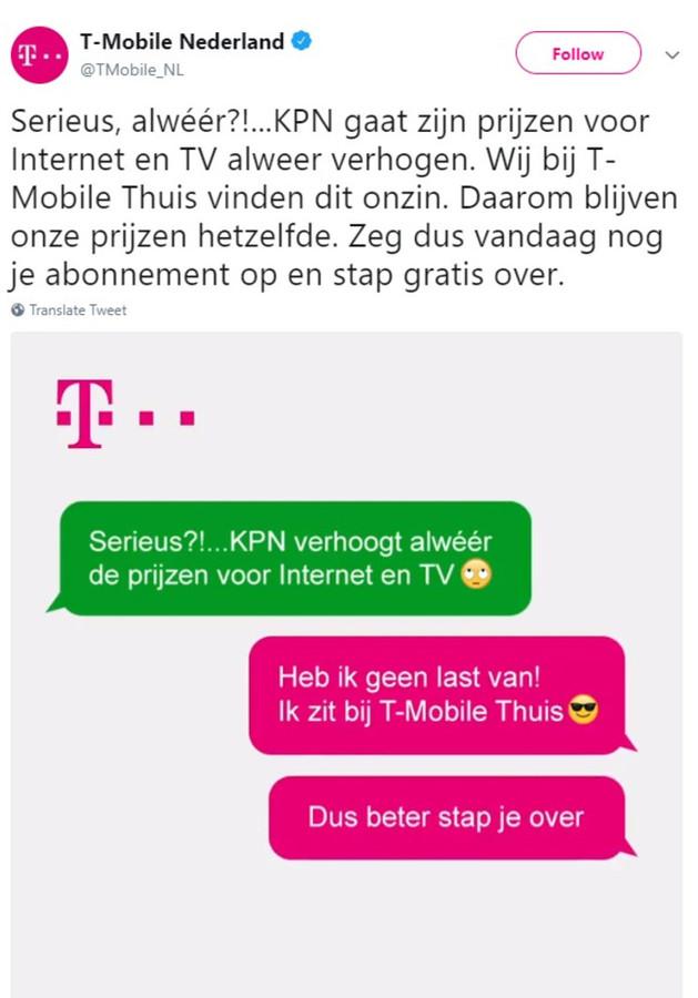 De tweet van T-Mobile, één van de uitingen gericht aan andere providers.