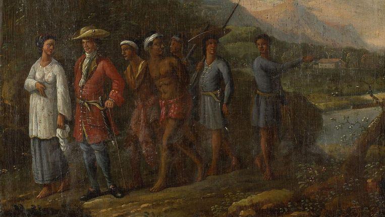 Hollandse koopman met slaven in heuvellandschap, anoniem, 1700 - 1725. Beeld Rijksmuseum