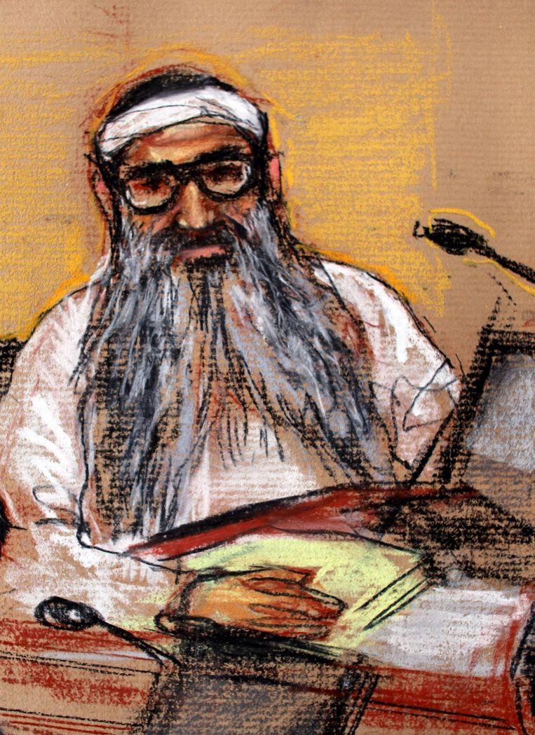 Rechtbanktekenaar Janet Hamlin maakte dit portret van 'KSM' tijdens een verhoor in 2009