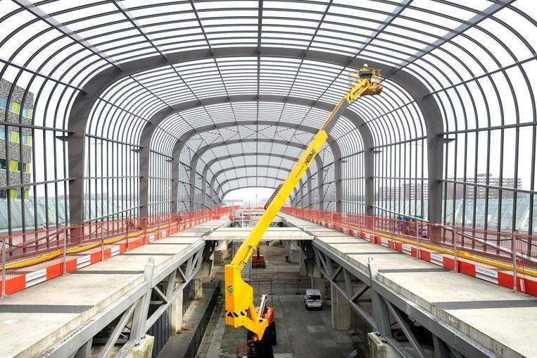 VolkerWessels werkt aan station Noord van de Amsterdamse Noord/Zuidlijn Beeld ANP