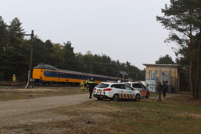 De gestrande trein in de bossen aan de Kootwijkerweg.
