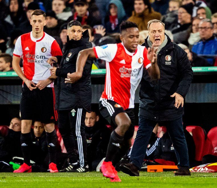 Dick Advocaat windt zich op tijdens Feyenoord - Emmen (3-0). Beeld null