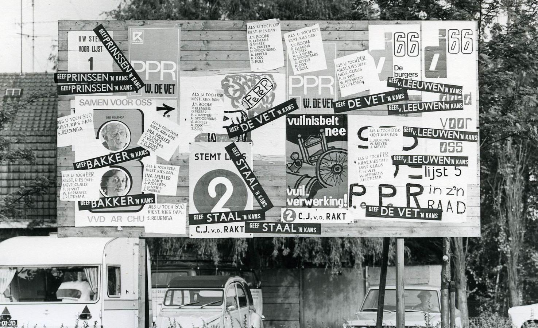 Verkiezingsposters in Oss 1970.