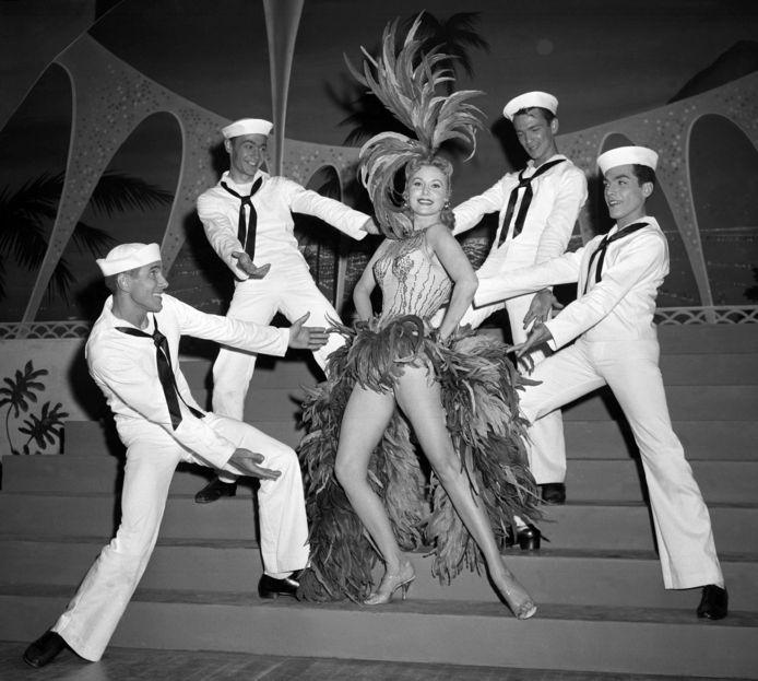 Rhonda Fleming, die in de jaren veertig en vijftig beroemd werd.