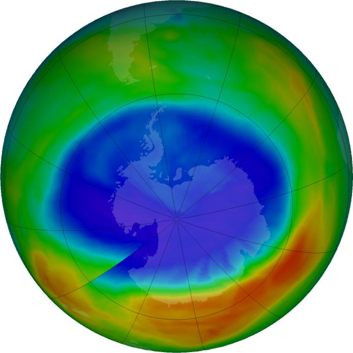 Het gat in de ozonlaag bereikte op 11 september een piek. Het gat was op dat moment tweeënhalve keer zo groot als de Verenigde Staten. De plekken met de minste ozon zijn paars en blauw.
