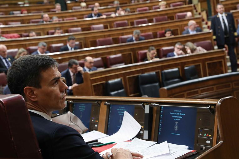 Pedro Sánchez, hier tijdens het debat over de motie van wantrouwen in het parlement in Madrid.
