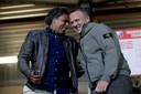 Pierre van Hooijdonk en John van den Brom maandag bij Jong FC Utrecht - NAC Breda.