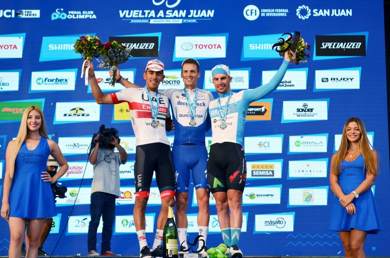 epa08186500 Stage winner Quick Step team rider Zdenek Stybar (C) of the Czech Republic, Juan Sebastian Molano (L) of Colombia, second place, and Rudy Barbier (R) of France, third place, celebrate on the podium during the awards ceremony of the Vuelta to San Juan's sixth stage in San Juan, Argentina, 01 February 2020.  EPA/DAVID RAMIRO