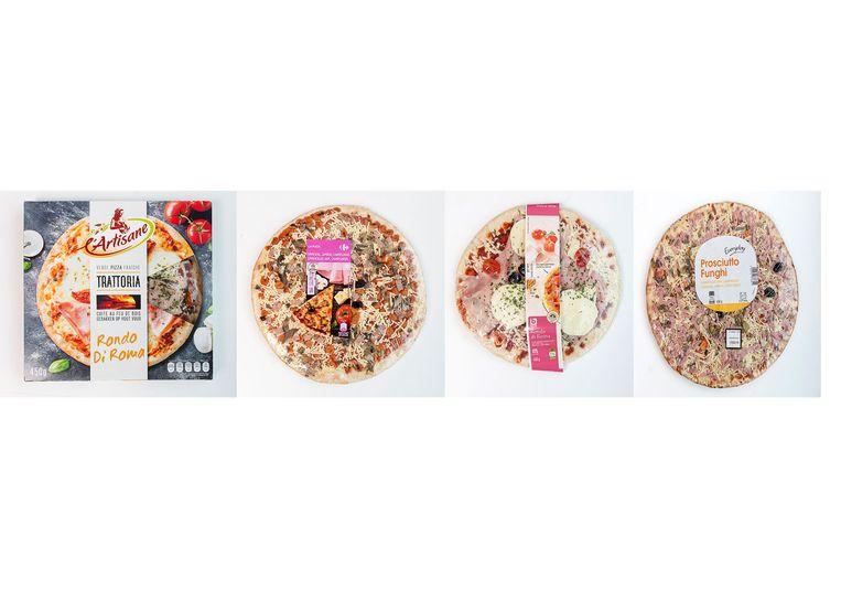 Je geld niet waard, deze pizza's. Van links naar rechts: L'Artisane Verse Pizza Trattoria Rondo di Roma, La Pizza Emmentaler, Boni Rondo Di Roma en Everyday Prosciutto Funghi.