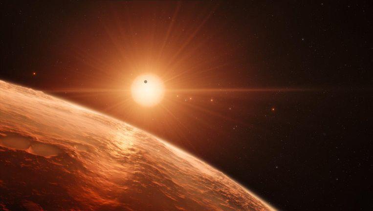 Artist's impression van het planetenstelsel bij TRAPPIST-1. Beeld ESO/M. Kornmesser/spaceengine.org