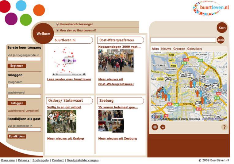 Buurtleven.nl is een initiatief van vier woningcorporaties en begint in Zeeburg, Oost-Watergraafsmeer, Osdorp en een stukje van Slotervaart. Screenshot van www.buurtleven.nl Beeld