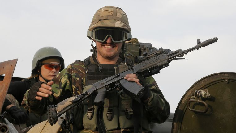 Een Oekraïense militair in Debaltsevo, in de regio Donetsk. Beeld ap