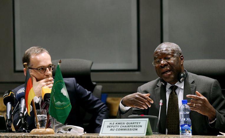 De Duitse minister van Buitenlandse Zaken Heiko Maas samen met de voorzitter van de Afrikaanse Unie H.E. Quartey Thomas Kwesi in Addis Ababa, Ethiopië tijdens zijn meerdaags bezoek aan verschillende Afrikaanse landen.