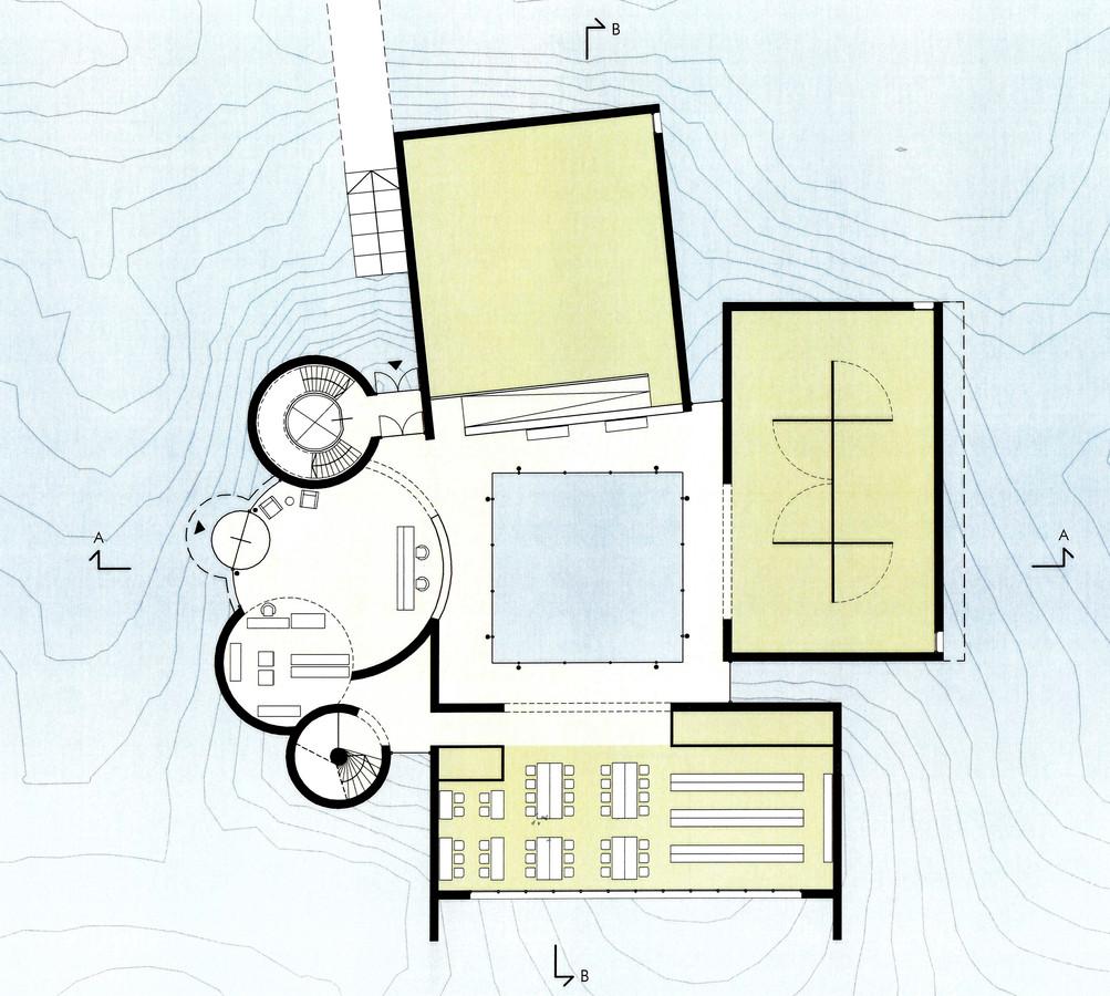 Plattegrond begane grond nieuw museum Domburg.
