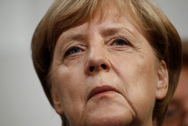 Bondskanselier Angela Merkel kreeg met haar CDU/CSU 33 procent van de stemmen.  Beeld AFP