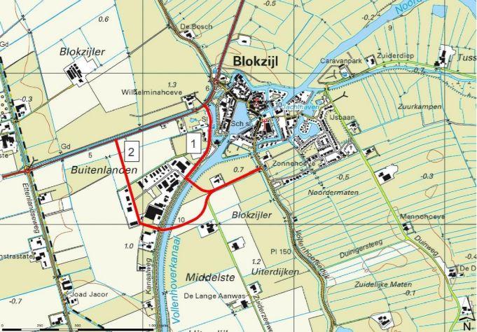 De twee mogelijke ontsluitingstracés voor Blokzijl, die het historische stadshart moeten ontlasten.