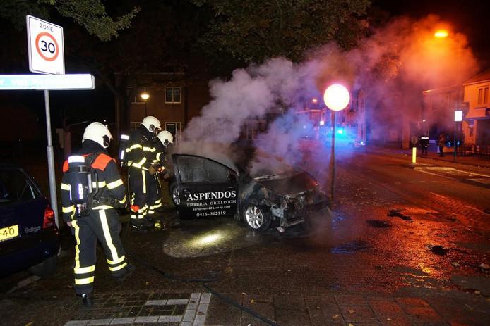 De auto van Aspendos brandde helemaal uit