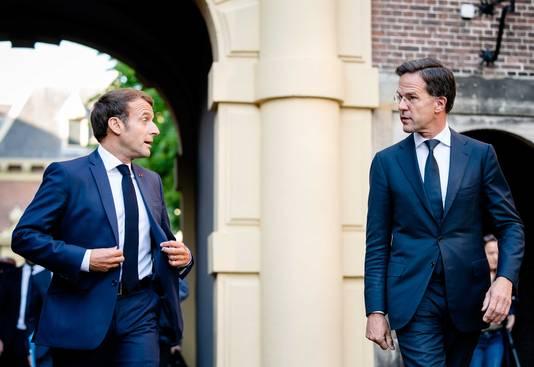 Macron en Rutte tijdens hun ontmoeting vorige maand in Den Haag